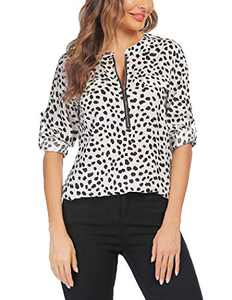 ANGVNS Casual Shirts for Women for Work V-Neck Top Office Clothes Cuffed Sleeve Formal Blouse