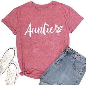 OWIN Women's Auntie Tee Crew Neck Cute Heart Print T Shirts Casual Funny Graphic Blouse Tops(Pink,XL)
