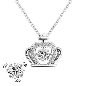 MYLONGINGCHARM Imperial Crown Beating Heart Necklace Gifts for Women, Personalized Dancing Cubic Zirconia Pendant Jewelry for Her/Mom/Wife/Girlfriend/Best Friend (Sliver)
