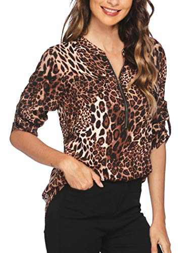 ANGVNS Cheetah Print Shirt V-Neck Work Blouses for Women Cuffed Sleeve Chiffon Tunic Ladies Top for Summer