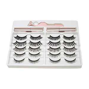 CINLITEK Magnetic Eyelashes with Eyeliner Lashes Pack, 10 Pairs 5 Styles Reusable Magnetic Lashes with 2 Tubes of Magnetic Eyeliner, Natural Fake Eyelashes, No Glue Silk False Lashes