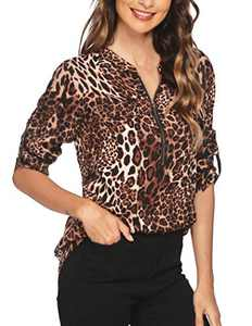 ANGVNS Animal Print Tops for Women Soft V Neck Shirts Roll Sleeve Plus Chiffon Blouse
