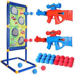 Shooting Games Toys for Kids 2pk Soft Foam Ball Popper Toys Foam Blaster and Guns with Standing Shooting Target
