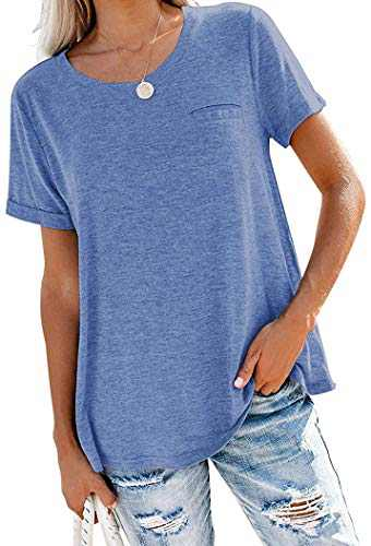 Yidarton Women's Casual Roll Up Short Sleeve T Shirts Crew Neck Tops Basic Short Sleeve Blouse Blue XL