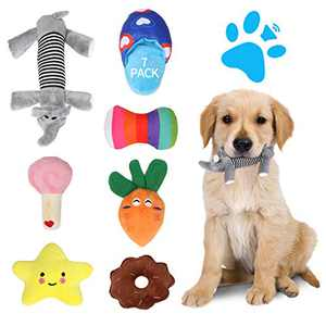 Dog Toys For Small Dogs, 7 Pack Squeaky Plush Dog Toy, Soft Puppy Chew Toys Bulk Dog Teething Toy, Cute Durable Stuffed Dog Toy Small Medium Dog Pet Supplies, Dog Owner Gifts,Pet Gifts For Dogs Owners