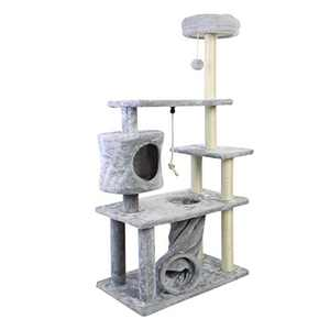 CUPETS Cat Tree Cat Climber Kitten Activity Tower Condo Multi Level Gray Pet Play House with Scratching Post and Activity Tree Pet Products for Cats 55 Inches High