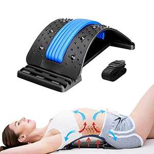 Back Stretcher, Lower Back Pain Relief Device with Magnet, Multi-Level Back Massager, Lumbar Support Stretcher Spine Deck for Herniated Disc, Sciatica and Scoliosis, Lower and Upper Muscle Pain Relief