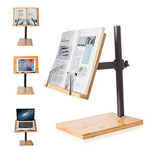 Book Stand Height Adjustable Large Size, wishacc Bamboo Upright Book Stand with Page Clips for Reading Hands Free for Kitchen Office and School
