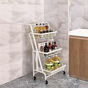 BENOSS 3 Tier Foldable Kitchen Cart, Rolling Utility Cart with Handle, Storage Shelf Rack with Wheels, Storage Trolley Service Cart, Metal Mesh Storage Shelf for Bathroom, Office, Coffee Bar, White
