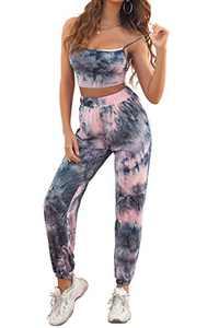 HiMONE Womens Tie Dye 2 Piece Tracksuits Cami Top Side Split Long Pants Set Sports Sweatsuits Tie Dye Pink Large