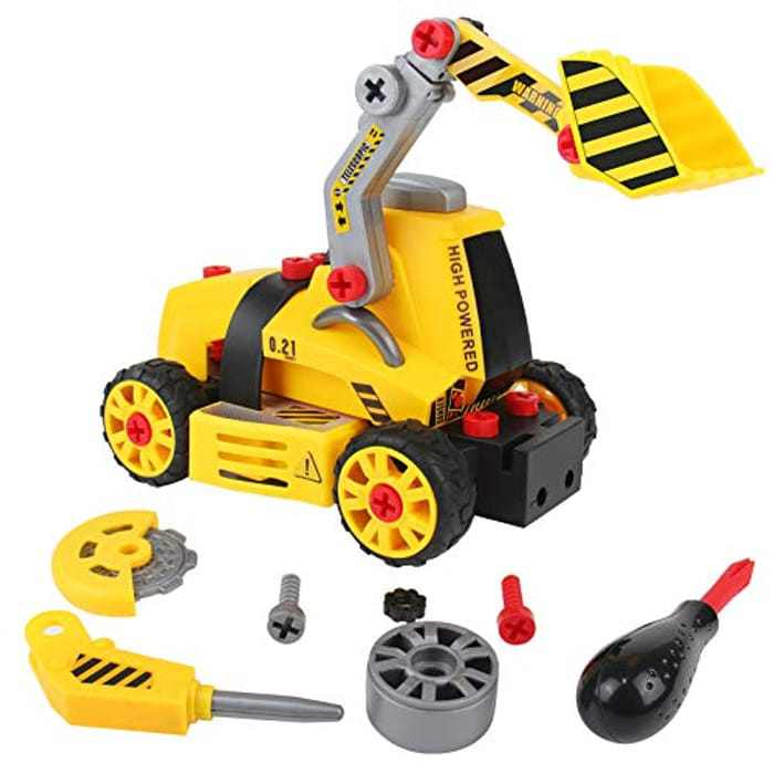 Take Apart Construction Vehicle Toy Set 7 in 1 Truck Bulldozer Cement Mixer Excavator Drill Truck Road Roller Assembly Kit for Kids 3 4 5 6 Year Old Boys Girls