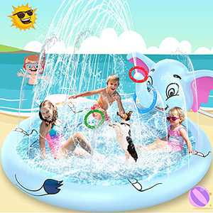 AOLUXLM Inflatable Splash Pad - Todder Water Sprinkler Pool with 3 Ring Toss, Outdoor Kiddie Pool for Kids,Wading Swimming Outdoor Play Mat Toy for Boys & Girls Age 3 4 5 6 Years Old