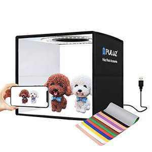 "PULUZ 9.8""/25cm Mini Portable Photo Studio Light Box, Adjustable Brightness Table Top Lighting Shooting Tent Kit, with LED Lights and 12 Colors Removable Backdrop"