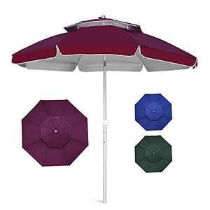 8FT Patio Umbrella Outdoor Table Umbrellas, Outside Sunbrella Umbrella with 2 Tier Vented and Push-Button Tilt, Garden Umbrella with Aluminum Pole and 8 Ribs for Market, Deck, Backyard, Pool(Red)