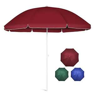 10FT Patio Umbrella Outdoor Table Umbrellas Market Sunbrella with Push-Button Tilt, Iron Pole & 8 Ribs, Polyester Shade Canopy, Uv Protection and Waterproof for Garden, Deck, Backyard, Pool (Red)