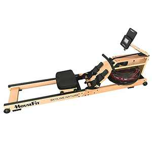 HouseFit Wooden Water Rower Rowing Machine with Bluetooth APP Foldable Rower Machine for Home Use with LCD Monitor Water Resistance Wood Rower Exercise Machine Soft Seat Home Fitness Workout
