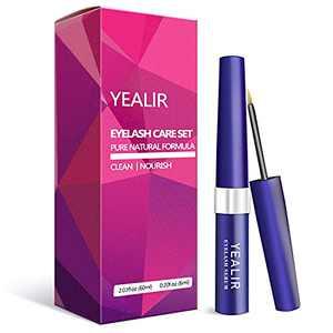 YEALIR Eyelash Growth Serum, Eyebrow Growth Enhancer,Lash Nourish Growth Serum 6ML & Eyelash Cleanser 60ML Kit, Lash Serum for Longer Fuller Eyelashes and Brows with Natural Extract
