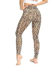 JJUQ Women's High Waist Yoga Pants Workout Tummy Control Stretch Running Leggings with Pockets Yellow Leopard-XL