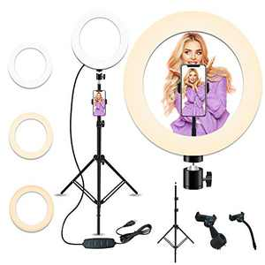 10'' Selfie Ring Light with 28.1'' to 83.8'' Extendable Tripod Stand,Peteme LED Ring Light with Phone Holder for Live Streaming/Makeup/YouTube Video/Photography,Compatible with iPhone/Android