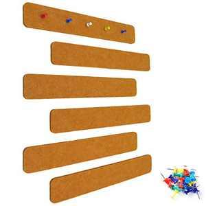 Felt Bulletin Board Bar Strip Self-Adhesive Pin Board Bar Frameless Wall Memo Strip with 20 Pieces Pushpins for Office Classroom Home, 6 Orange Bars