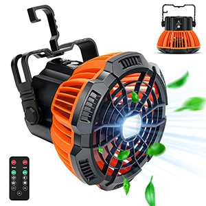 Camping Fan with LED Light , 5200mAh Rechargeable Camping Lantern Fan with Hanging Hook For Tent, 180°Head Rotation USB Charging Input Fan With Remote,Portable Battery Operated Desk Fan
