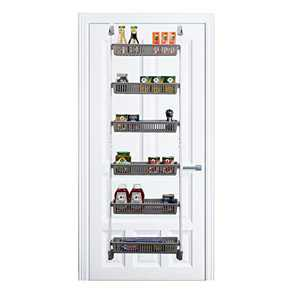 Keren Over The Door Pantry Organizer - 6-Tier Home Organization Steel & Resin Construction for Kitchen, Living Room, Bathroom, Storage Rack with Baskets, Sturdy Hooks - (18 x 59.5 Inch)