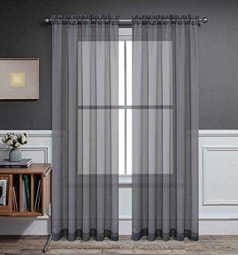 CUCRAF Sheer Curtains Panels for Living Room Bedroom Voile Window Treatment Drapes Dual Rod Pocket,Set of 2 (54 x 95 inches Long,Grey )