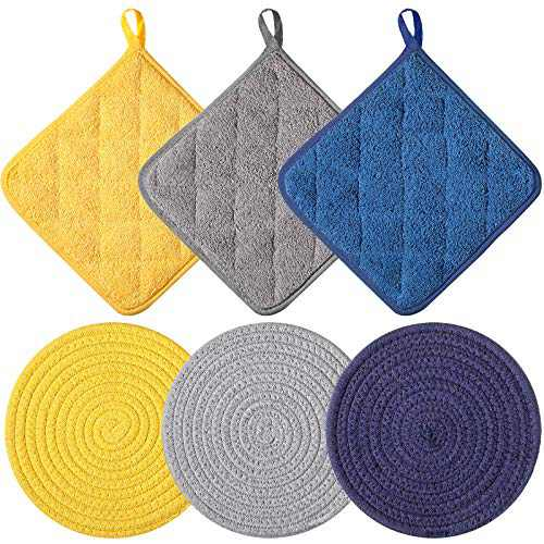 Thread Weave Hot Pads Holders Set with 3 Kitchen Potholders, Stylish Coasters Potholders for Farmhouse Decor, Thermal Insulation Pads for Cooking and Baking