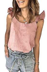 BTFBM Womens Summer Cute Print Loose Tank Tops Shirts Casual Crewneck Sleeveless Ruffle Blouse Tee Tunic Polka Dot Plaid (Plaid Pink, Large)