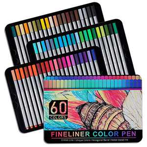 Replaceable Nib Fineliners Fine Point Pens Set of 60, Colored Fine Point Markers 0.4mm Tips, Bullet Journal Drawing Pens for Sketch Art Writing Coloring Book Taking Note Calendar Drawing Detailing