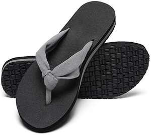MAIITRIP Womens Flip Flops with Soft Cushion Arch Support Beach Ladies Thong Sandals Comfy Cheap Yoga Mat Footbed Flipflops with Fabric Strap Grey Gray Size 6.5