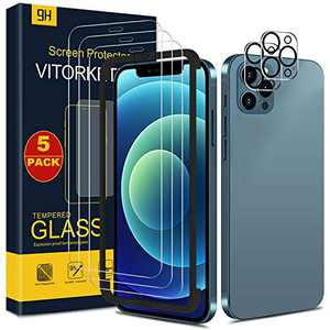 Screen Protector for iPhone 12 Pro Tempered Glass Front Screen Film 3 Pack and 2 Pack Back Camera Lens Protection, Scratch Resistant 9H Hardness,2.5D Edge by VITORKETIC