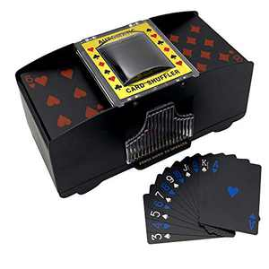 LIIBOT 2 Deck Automatic Card Shuffler with 1 Deck of Playing Card, UNO, Texas Hold'em, Poker, Home Card Games, Blackjack, Battery Operated Electric Poker Shuffling Machine