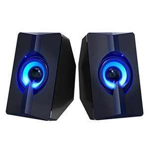 DAXGD Computer Speaker, USB Powered Mini Stereo Multimedia Loudspeaker with 7-Color LED Light for Desktop Laptop PC