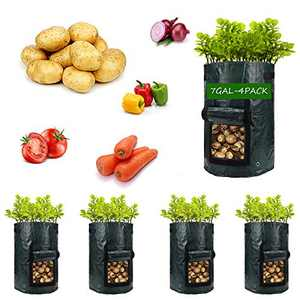 Potato-Grow-Bags,4 Pack 7 Gal Garden Vegetable Planter with Handles&Access Flap for Vegetables,Tomato,Carrot, Onion,Fruits,Potatoes-Growing-Containers,Ventilated Plants Planting Bag