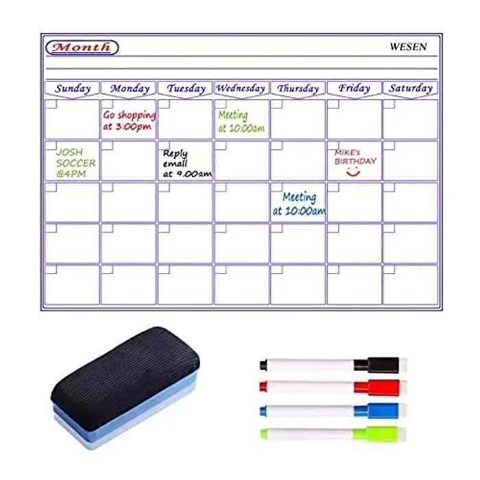 Magnetic Monthly Fridge Planner, Fridge Calendar Planner Magnetic, Family Organiser Planning Boards, Monthly Meal Planner Whiteboard, Memo Notice Board -4 Marker Pens 1 Eraser (Monthly Planner Board)