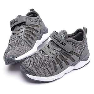 WOUEOI Kid Boys Girls Shoes Running Lightweight Breathable Sneakers(H-Grey,2.5 Little Kid)