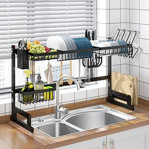 Apsan Over The Sink Dish Drying Rack, 2 Tier Adjustable Dish Rack and Drainboard Set, Large Dish Rack for Kitchen Organization, Stainless Steel, Black