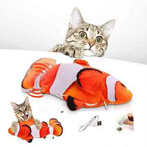 twocolur Flopping Fish Cat Toy, Cat Toys for Indoor Cats 28cm Interactive Cat Kicker Fish Toy, Catnip Moving Fish Toy, USB Charging, Washable for Biting, Chewing, and Kicking (Red White)