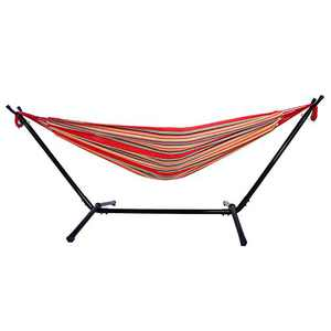 Portable Outdoor Polyester Hammock Set,Space Saving Steel Stand and Portable Carrying Bag for Outdoor or Indoor (Red 2)