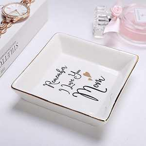 Gift for Mom from Daughter, Mother's Day New Year Birthday Gift for Mother Ceramic Ring Dish Decorative Jewelry Tray (Remember I Love You Mom)