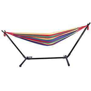 Portable Outdoor Polyester Hammock Set,Space Saving Steel Stand and Portable Carrying Bag for Outdoor or Indoor (Red 1)