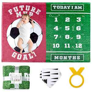 "Baby Monthly Milestone Blanket Boy / Girl | Soccer Theme | Includes Frame and Bib | Large 47""x40"" 
