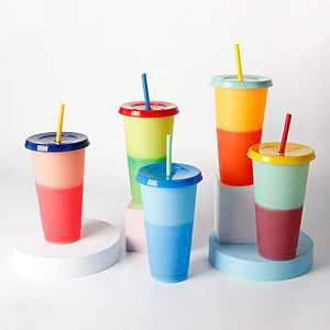 Simpleas Reusable Color Changing Plastic Tumblers- Color Changing Cups Cold Drink Cups with Lids and Straws- Color Changing Cold Drink Cups- [Pack of 5, 24 Oz]
