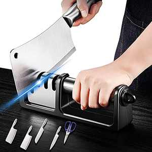 2-in-1 Kitchen Knife Sharpener 4-Stage Professional Kitchen Sharpener for Knives and Scissors Sharpening Helps Repair, Restore and Polish Blades… (Black-2)
