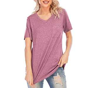 Women Short Sleeve V Neck T Shirts with Pocket Loose Summer Tunic Tops