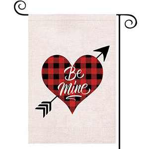 EKOREST Red Buffalo Plaid Garden Flag for Valentines Day,Double Sided Burlap,Happy Valentine's Day Decors for Outdoor,Arrow Love Heart Signs for Yard,Seasonal Flag for Anniversary Wedding 12 x 18 Inch
