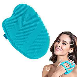 RamPula Soft Silicone Body Scrubber,Manual Back Brush Glove Scrubs Pad Easy to Clean for Body Wash Massaging Cleansing Exfoliating Bath Shower Sensitive Skin Care Tool Hygienic than Loofah (Blue)