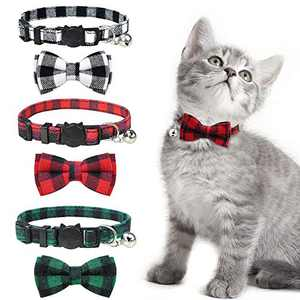 KITTAIL 3PCS Breakaway Bowtie Cat Collar with Bells - Plaid Pattern & Made of Natural Cotton - Adjustable of 8.5-11.8 inches, Soft & Comfortable Material for Kitten, Red, Black, Green