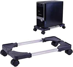 Computer Tower Stand Adjustable PC CPU Stand, Mobile Desktop ATX-Case Stand with Locking Caster Wheels, LABOBOLE